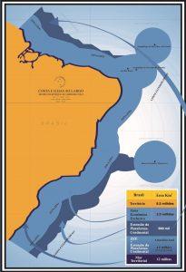 """Figura 1: A """"Amazônia Azul"""", que inclui o Mar Territorial e a Zona Econômica Exclusiva. O Brasil pleiteia na ONU a extensão da plataforma continental, ampliando suas águas jurisdicionais. Fonte: Marinha do Brasil."""